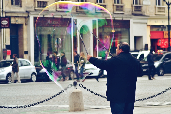 Gigantic soap bubble