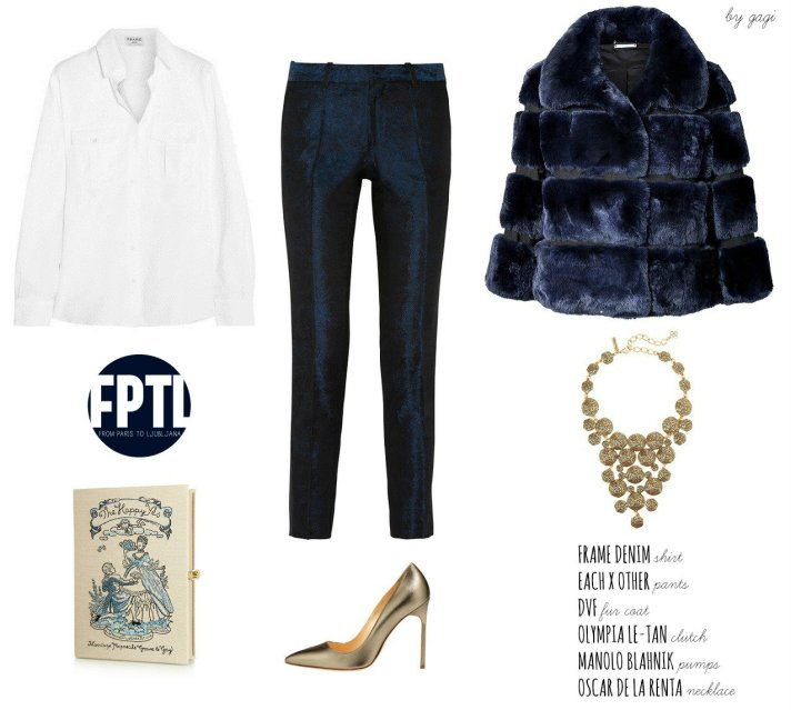 FRAME DENIM SHIRT EACH X OTHER PANTS DVF FUR COAT OLYMPIA LE-TAN CLUTCH MANOLO BLAHNIK METALLIC PUMPS OSCAR DE LA RENTA NECKLACE