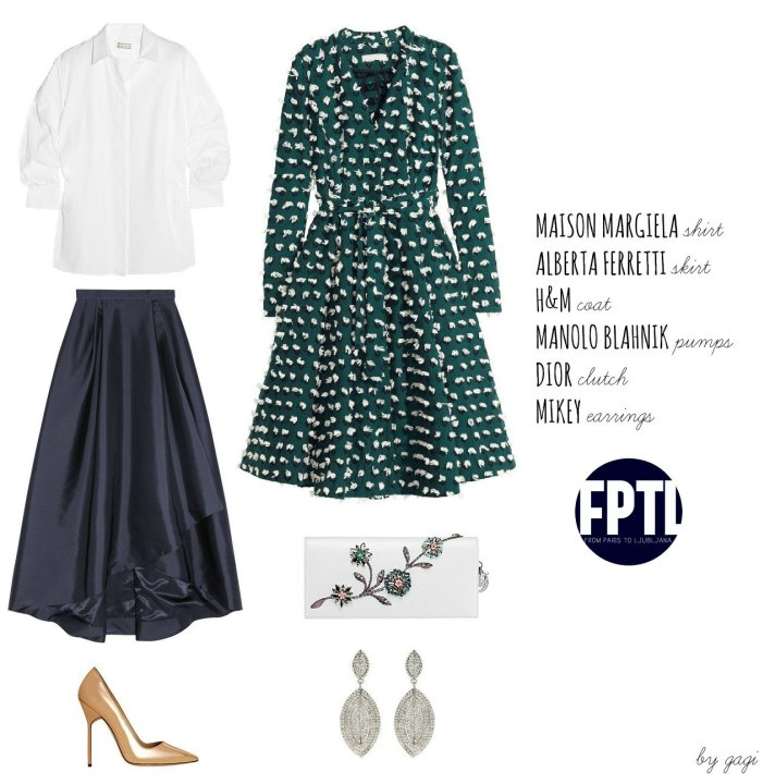 MAISON MARGIELA SHIRT ALBERTA FERRETTI SKIRT H&M COAT MANOLO BLAHNIK PUMPS DIOR CLUTCH