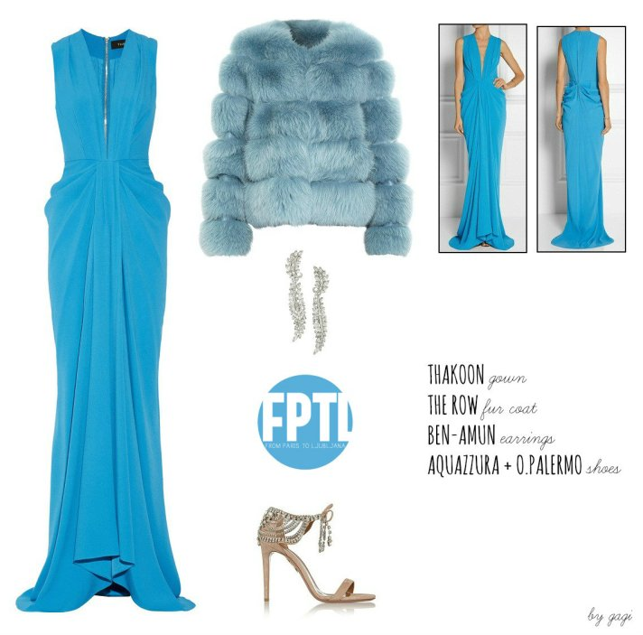 THAKOON GOWN THE ROW FUR COAT BEN-AMUN EARRINGS AQUAZZURA + OLIVIA PALERMO SHOES